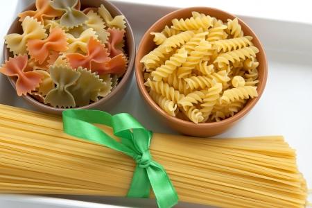 Pasta spirals  Pasta Farfalle  Spaghetti photo