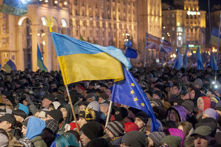 maidan: KIEV, UKRAINE  Protest on Euromaydan in Kiev against the president Yanukovych didn t sign the contract between the European Union and Ukraine in Kiev, Maidan, Ukraine
