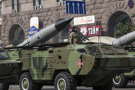 minister of war: KYIV, UKRAINE - 24 AUG, 2014: In Kiev on Khreshchatyk military parade of the Independence Day of Ukraine on August 24, 2014 in Kiev, Ukraine