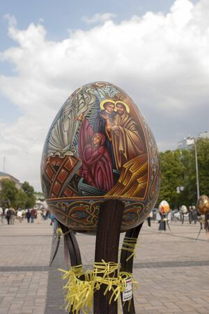 KIEV, UKRAINE - MAY 5, 2016: Ukrainian Pysanky festival (Festival of Easter eggs, 23.04-09.05) - The traditional Easter event for residents and guests. Center Festival Easter eggs-Sophia Square, Kiev Editöryel