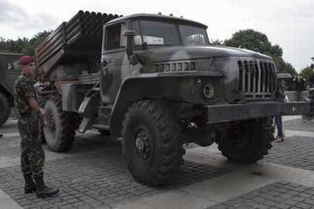 seized: KIEV, UKRAINE - JULY 12, 2014. Exhibition of captured weapons seized from the separatists in Ukraine. July 12, 2014 Kiev, Ukraine