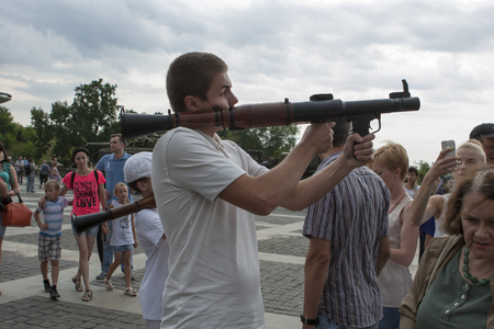 anti fascist: KIEV, UKRAINE - JULY 12, 2014. Exhibition of captured weapons seized from the separatists in Ukraine. July 12, 2014 Kiev, Ukraine