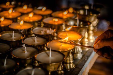 buddhist's: Butter lamp Stock Photo