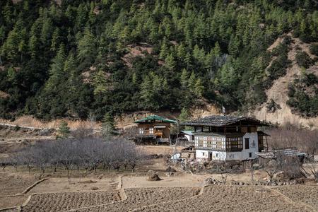 Bhutan: Bhutan traditional house Stock Photo