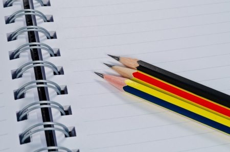 white paper of notebook with pencil Stock Photo - 14215497