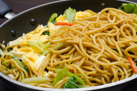 Yakisoba Thai style, Thai noodle in pan photo
