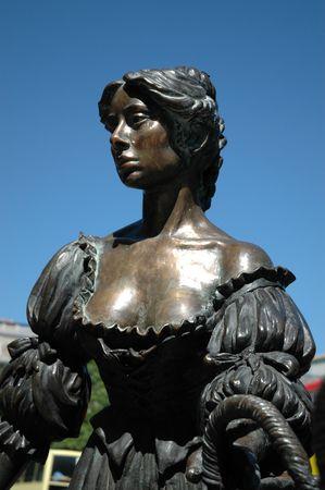malone: Life size Bronze Molly Malone Statue in Dublin City near Grafton Street and trinity College Stock Photo