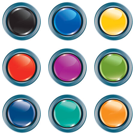 navigating: Computer colored buttons with NO TRANSPARENCIES, totally editable shapes.  Perfect for navigating a website or mobile platform.