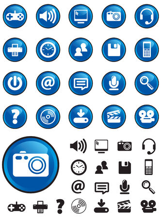 navigating: Computer Media icons on blue buttons with NO TRANSPARENCIES, totally editable shapes.  Pictures in both white and black, perfect for navigating a website or mobile platform.
