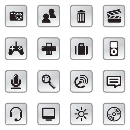navigating: Computer Media icons on gray buttons with NO TRANSPARENCIES, totally editable shapes.  Pictures in both white and black, perfect for navigating a website or mobile platform.