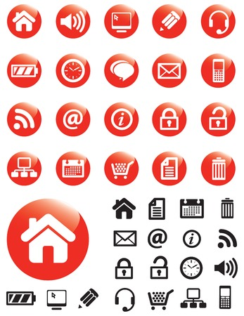 navigating: Computer Media icons on red buttons with NO TRANSPARENCIES, totally editable shapes.  Pictures in both white and black, perfect for navigating a website or mobile platform.