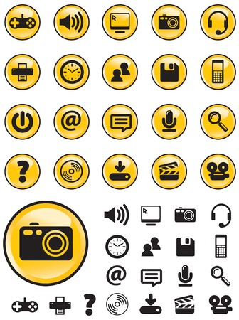 navigating: Computer Media icons on yellow buttons with NO TRANSPARENCIES, totally editable shapes.  Perfect for navigating a website or mobile platform.