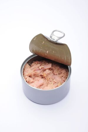 ring pull: Tuna food can, with lid open showing the ring pull, no label.