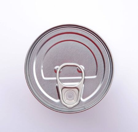 ring pull: Top of silver food can, showing the ring pull on the lid.