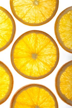 lightbox: Orange Slices on a light-box Stock Photo