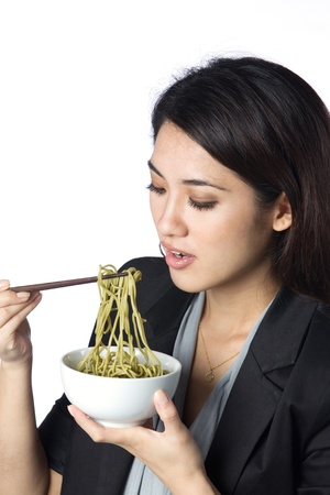 noodle bowl: Studio image of an asian woman