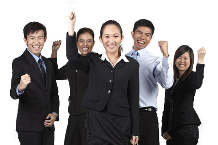 asian office lady: Business Team celebrating. Isolated on white background Stock Photo
