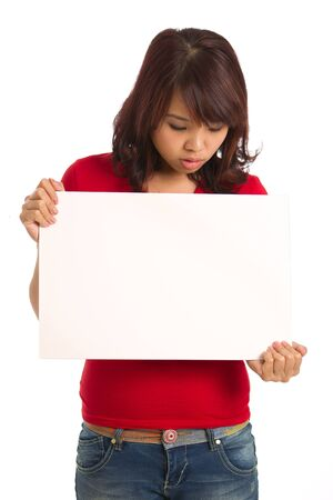 holding blank sign: Studio image of an asian woman