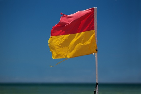 manly: Surf lifesaving flag on beach, New South Wales, Australia