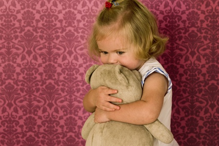 happy toddler hug teddy bear Stock Photo - 10348989