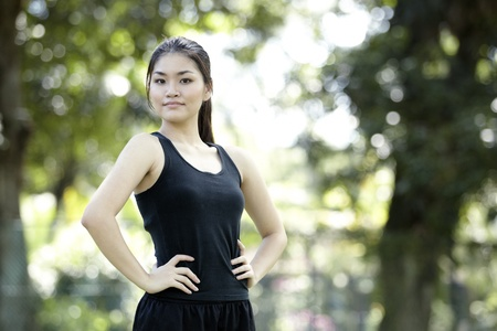 An Asian female runner ready to go running Stock Photo - 10443072