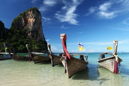 southern of thailand: Longtail boat on Railay beach, krabi provence, southern Thailand
