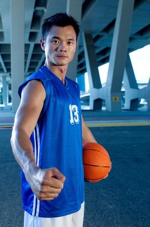 Asian male Basket ball Player at night Stock Photo - 11515668