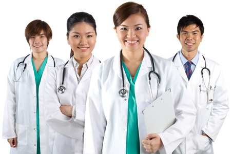 asian doctor: Four Asian doctors wearing a white coats with stethoscopes. Isolated on white. Stock Photo