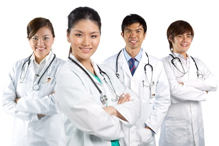 Four Asian doctor wearing a white coats with stethoscopes. Isolated on white. Stock Photo