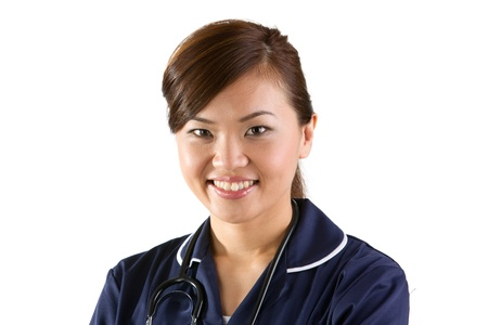 Female Asian Nurse wearing a white coat and stethoscope. Isolated on white. Stock Photo - 12228517