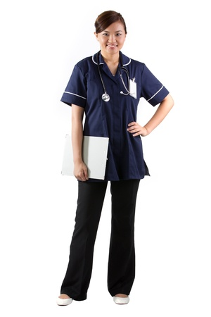 Female Asian nurse. Isolated on white. Full length Portrait Stock Photo - 12245730
