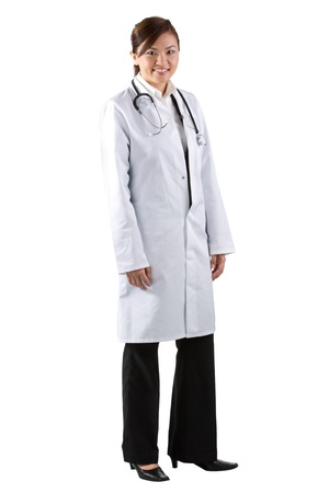 Female Asian doctor wearing a white coat and stethoscope. Isolated on white. Stock Photo - 12245728