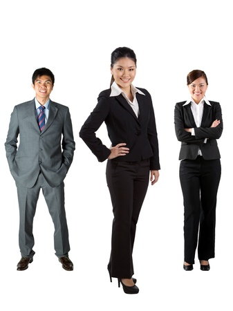 old man standing: Full length image of Chinese business people Stock Photo