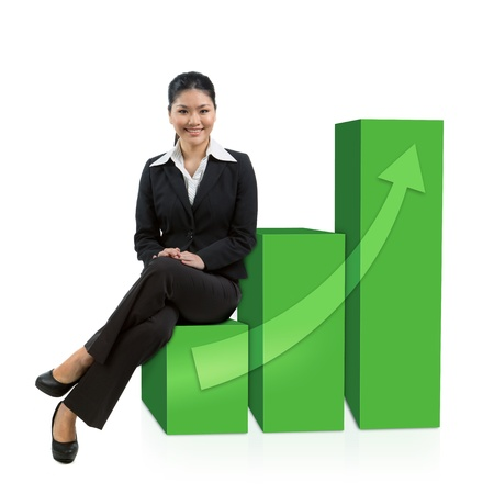 share market: Successful Asian business woman sitting on a 3d graph