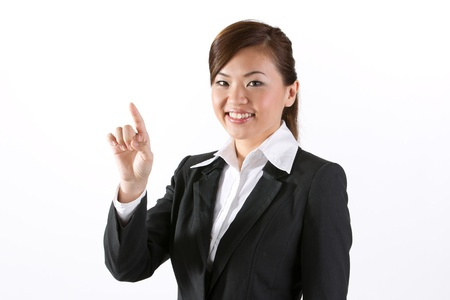 access point: Asian business woman touching a virtual screen