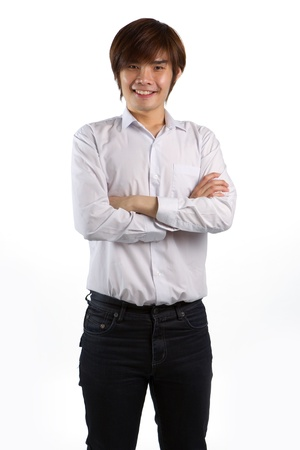 Portrait of an Asian man smiling on the white background. photo