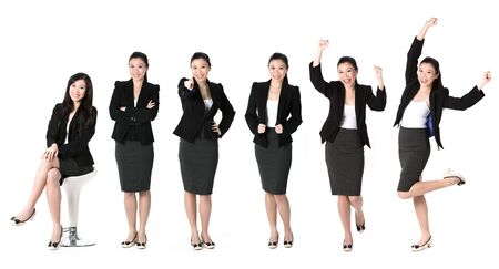 asian business people: Collection of 6 full length portraits of the same Asian business woman. Isolated on white background
