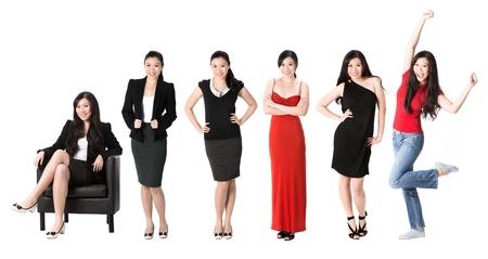 Collection of 6 full length portraits of the same Asian woman in different clothes. Isolated on white background. photo