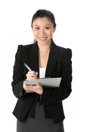 checkout stand: Business Woman Holding A Clip Board With Pen. Isolated on white background.