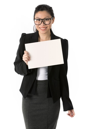 Asian Business woman holding an empty white sign  photo