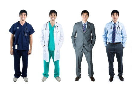 Diferentes poses de la modelo de negocio misma masculina de vestir y ropa de m�dico. Aislado sobre fondo blanco. Foto de archivo - 14227135