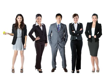 asian business people: Group of 5 Chinese business people. Isolated over white background
