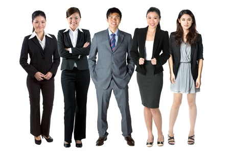 employees group: Group of 5 Chinese business people. Isolated over white background