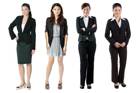 Group of Asian business women. Isolated over white background. photo