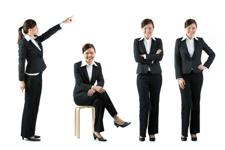 Collection of 4 full length portraits of the same Asian business woman. Isolated on white background photo