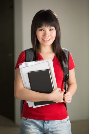 A portrait of a Chinese college student at her University campus photo