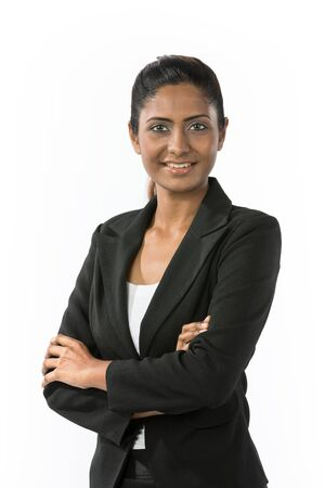 Portrait of a happy Indian business woman. Isolated on a white background. photo