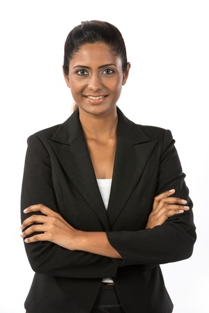 Portrait of a happy Indian business woman. Isolated on a white background. Stock Photo - 14840644