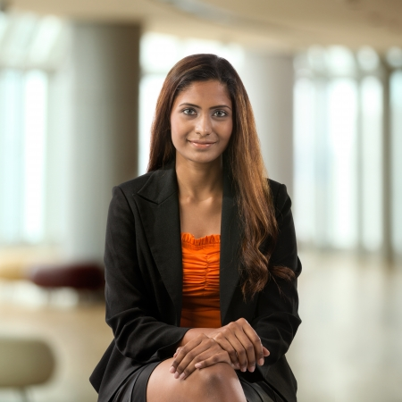 business suit: Portrait of a happy Indian business woman. Stock Photo