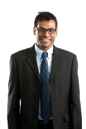 Portrait of a handsome Indian Businesman. Isolated on a white background. photo